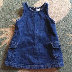 Lands End Girls Denim Dress with pockets